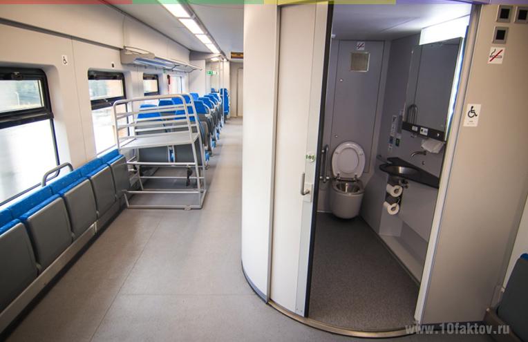 Туалеты в поезде МЦК